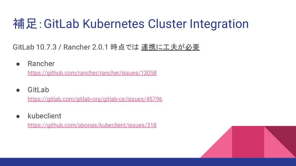 補足:GitLab Kubernetes Cluster Integration GitLab...