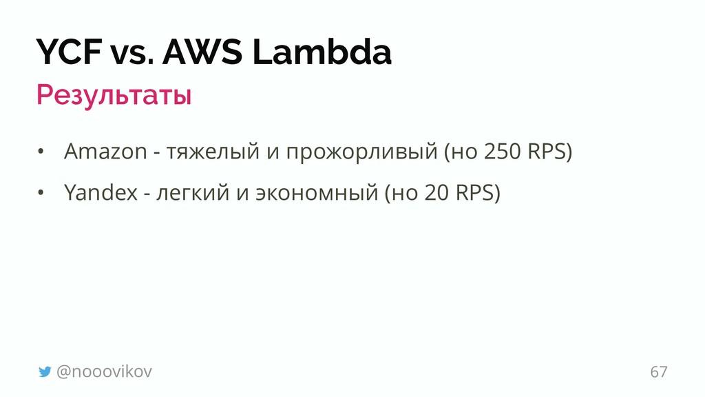 YCF vs. AWS Lambda Результаты • Amazon - тяжелы...