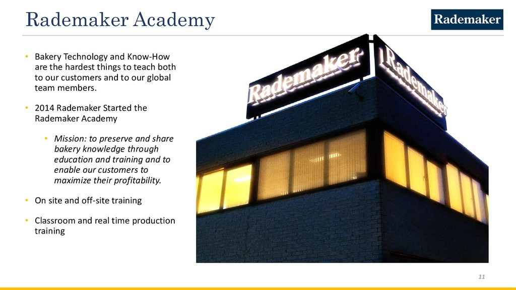 Rademaker Academy • Bakery Technology and Know-...