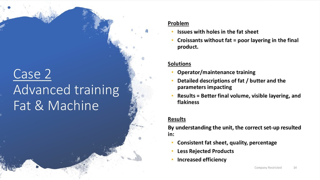 Case 2 Advanced training Fat & Machine Problem ...