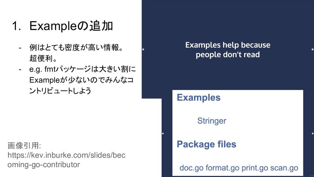 1. Exampleの追加 - 例はとても密度が高い情報。 超便利。 - e.g. fmtパッ...