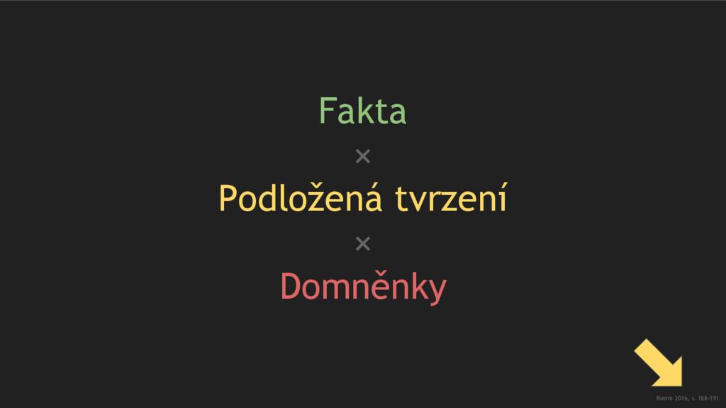 Fakta × Podložená tvrzení × Domněnky Romm 2016,...