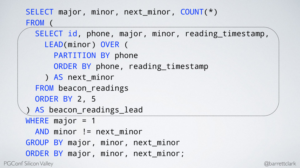 SELECT major, minor, next_minor, COUNT(*) FROM ...