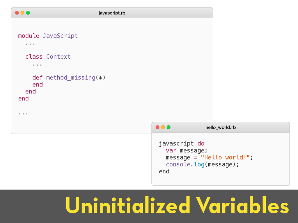 Uninitialized Variables module JavaScript ... c...