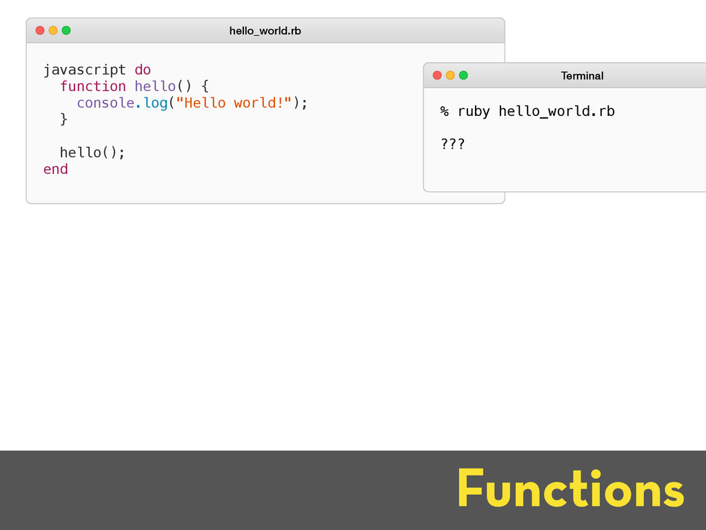 Functions javascript do function hello() { cons...