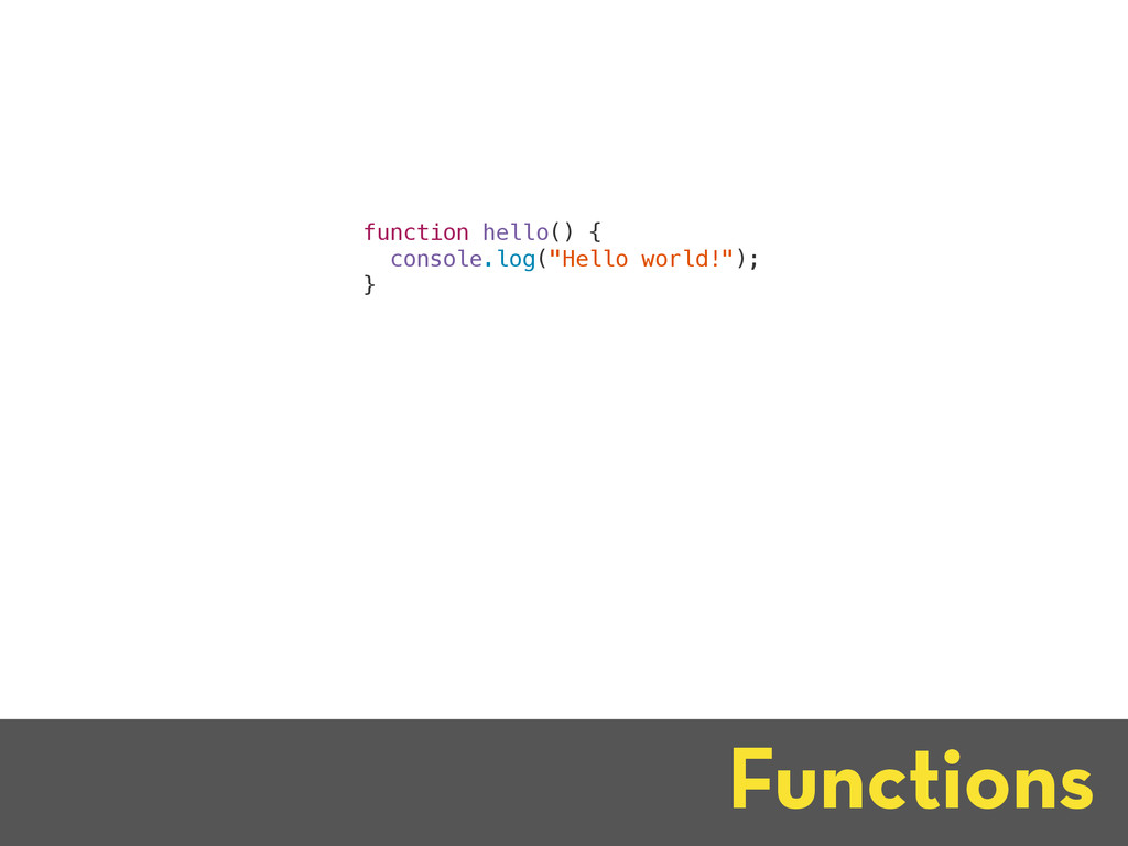"""Functions function hello() { console.log(""""Hello..."""