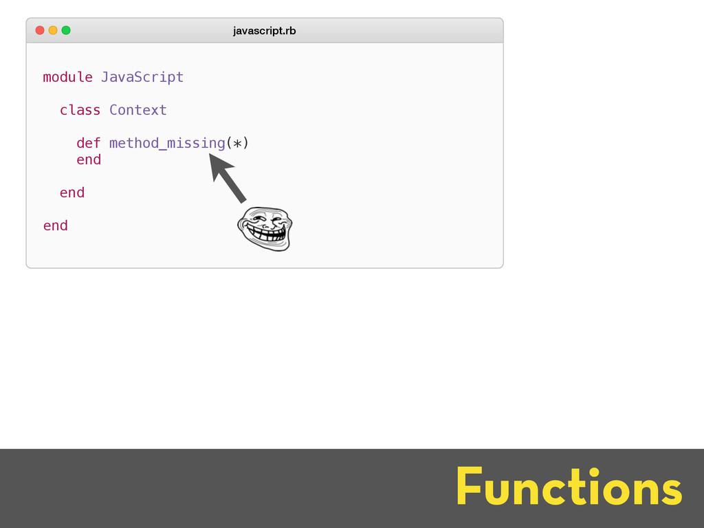 Functions module JavaScript class Context def m...