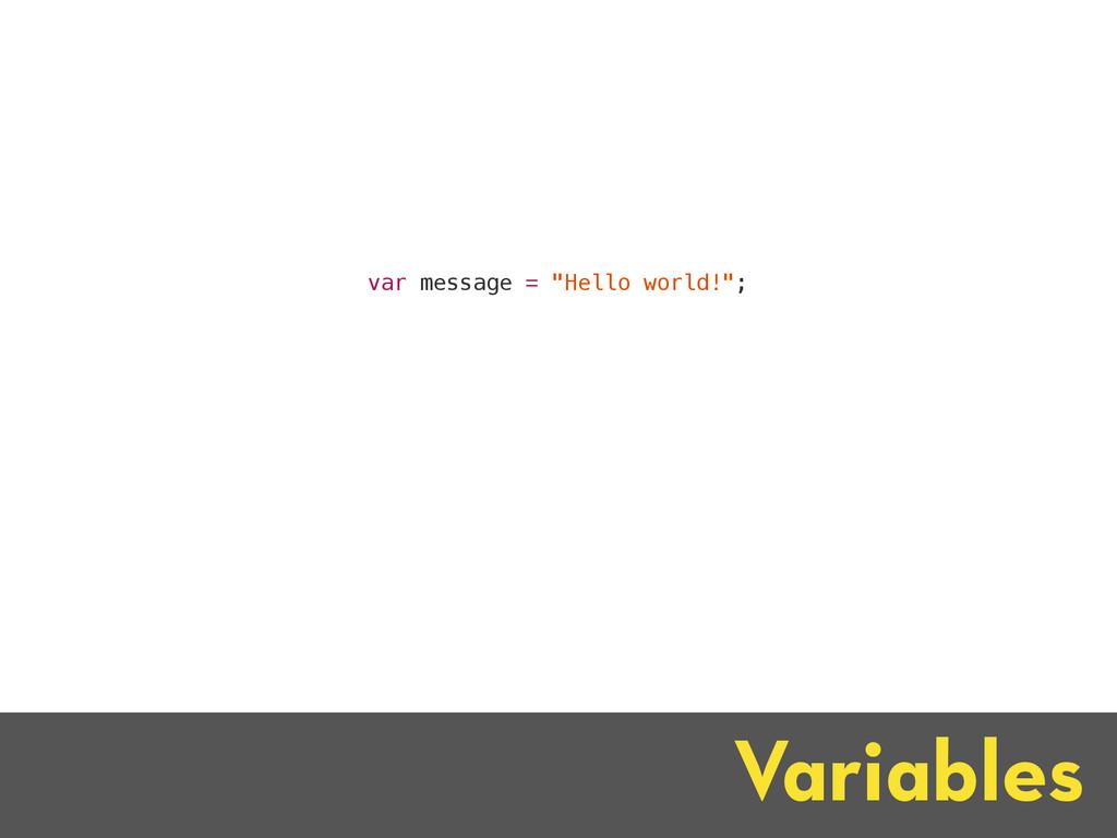 """Variables var message = """"Hello world!"""";"""