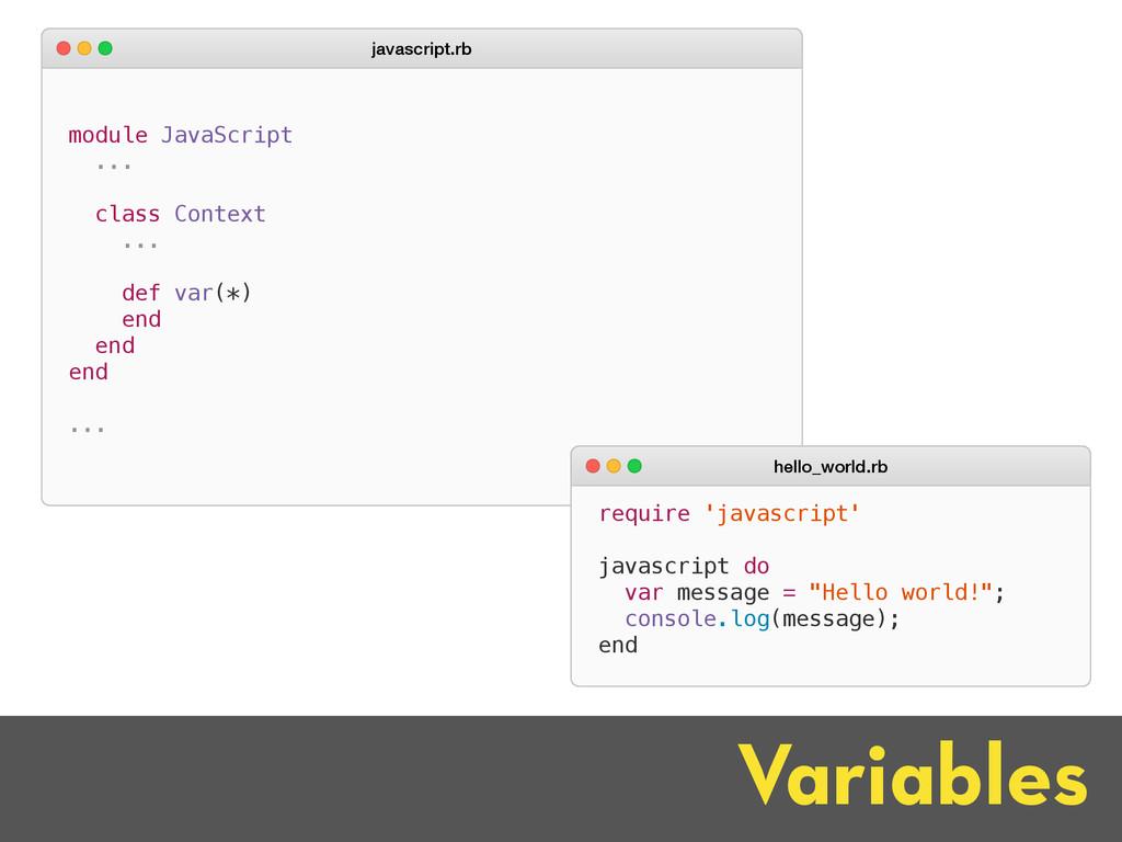 Variables module JavaScript ... class Context ....