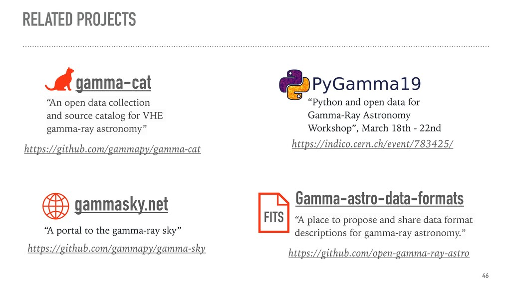 RELATED PROJECTS 46 https://github.com/gammapy/...
