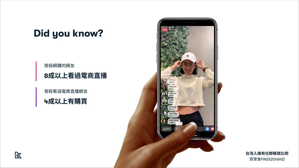 台灣⼈擁有社群帳號⽐例 資策會FIND(2016H2) 8成以上看過電商直播 曾經網購的網友 ...