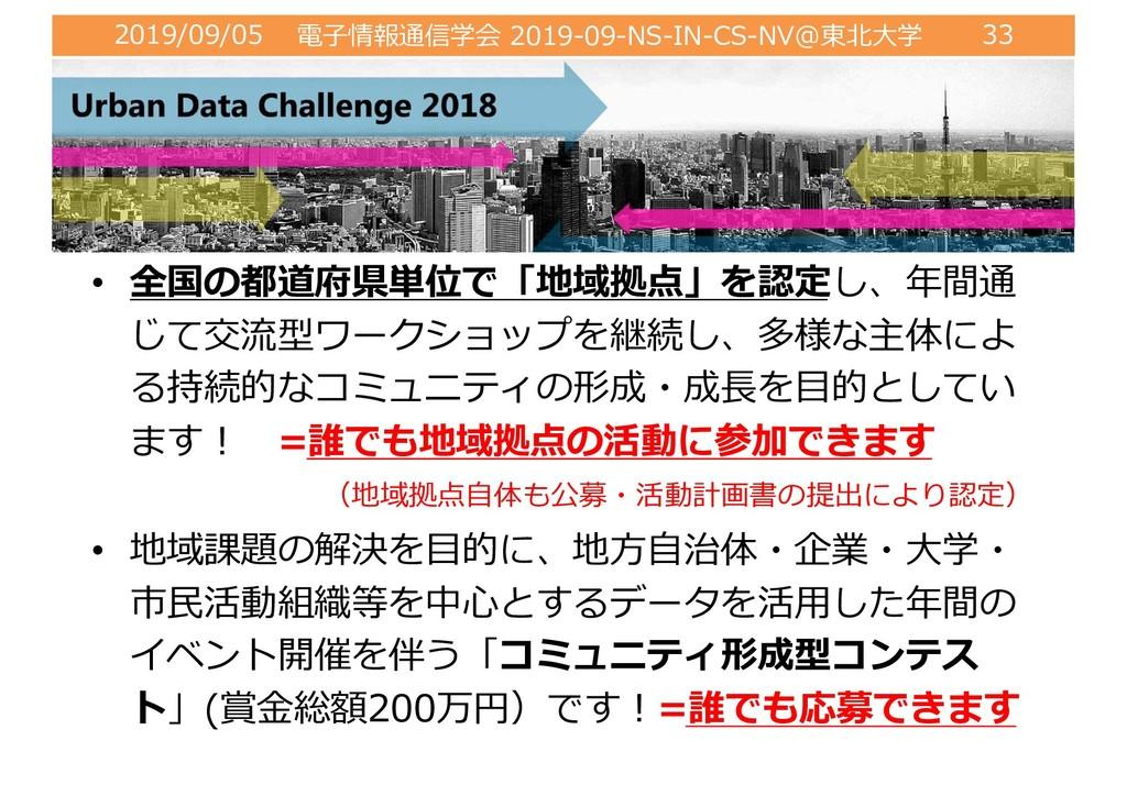 2019/09/05 電⼦情報通信学会 2019-09-NS-IN-CS-NV@東北⼤学 33...