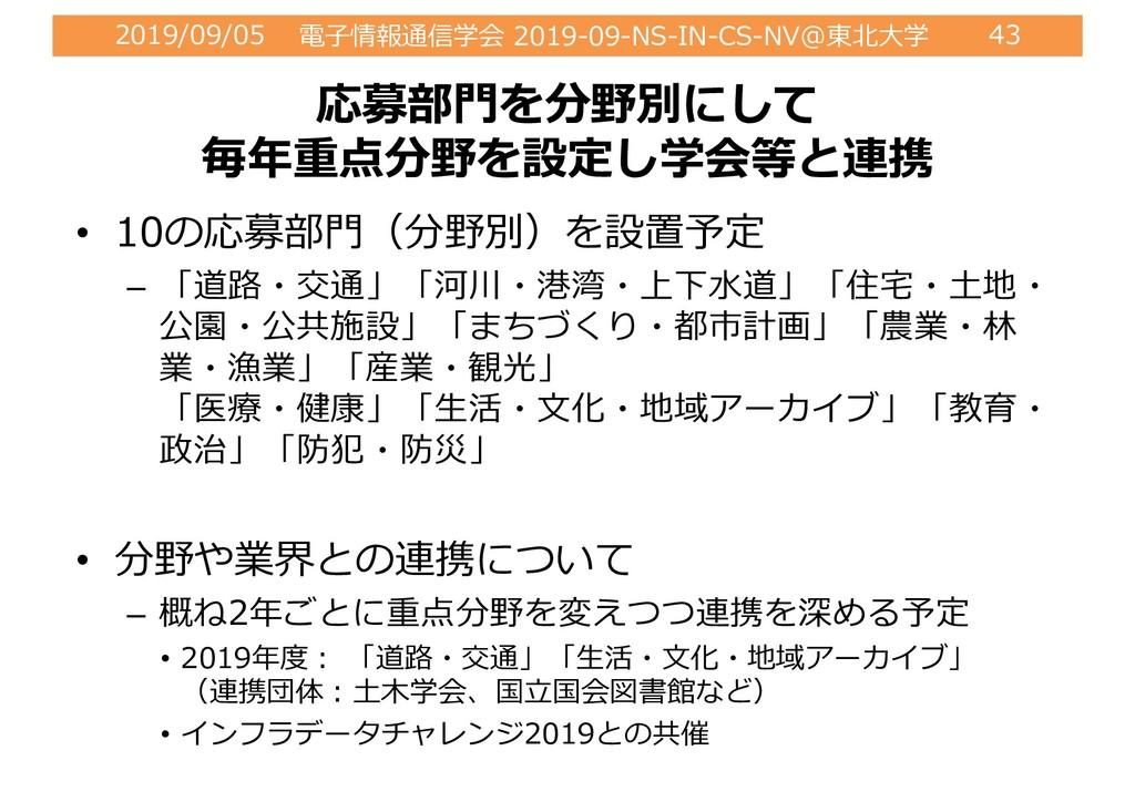 2019/09/05 電⼦情報通信学会 2019-09-NS-IN-CS-NV@東北⼤学 43...