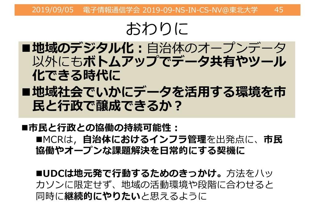 2019/09/05 電⼦情報通信学会 2019-09-NS-IN-CS-NV@東北⼤学 45...