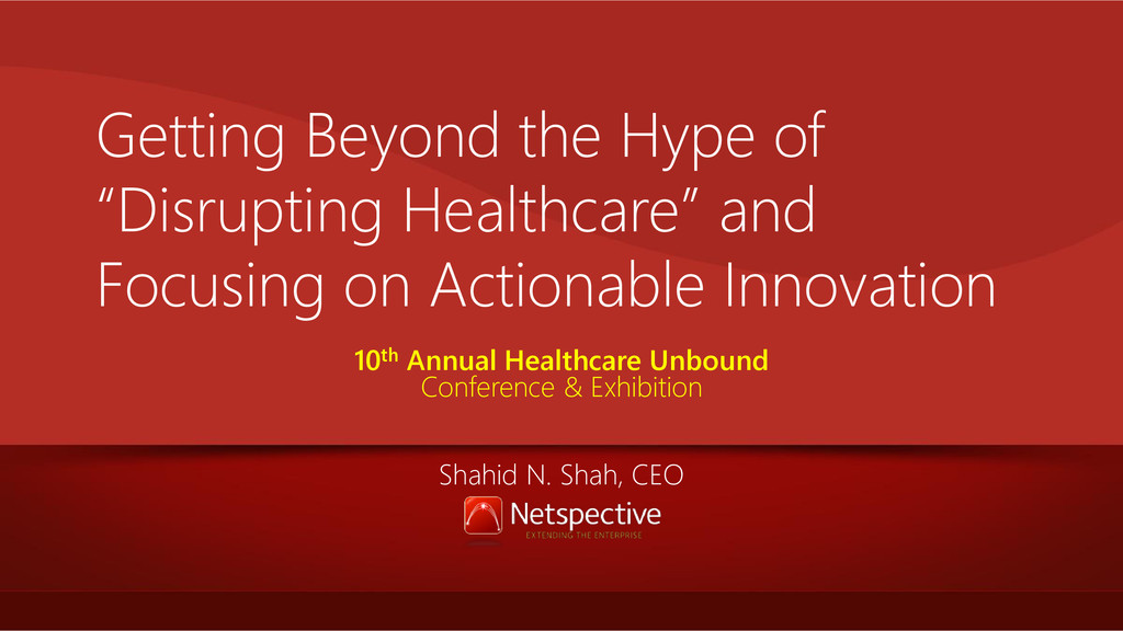 """Getting Beyond the Hype of """"Disrupting Healthca..."""