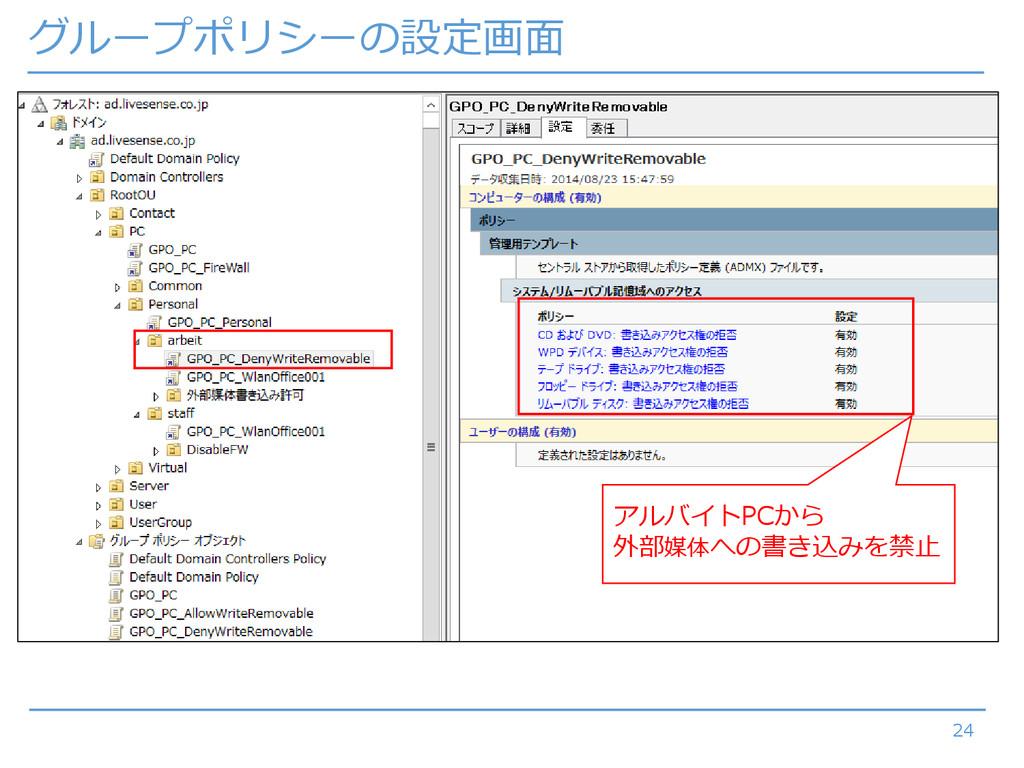 グループポリシーの設定画面 24 アルバイトPCから 外部媒体への書き込みを禁止