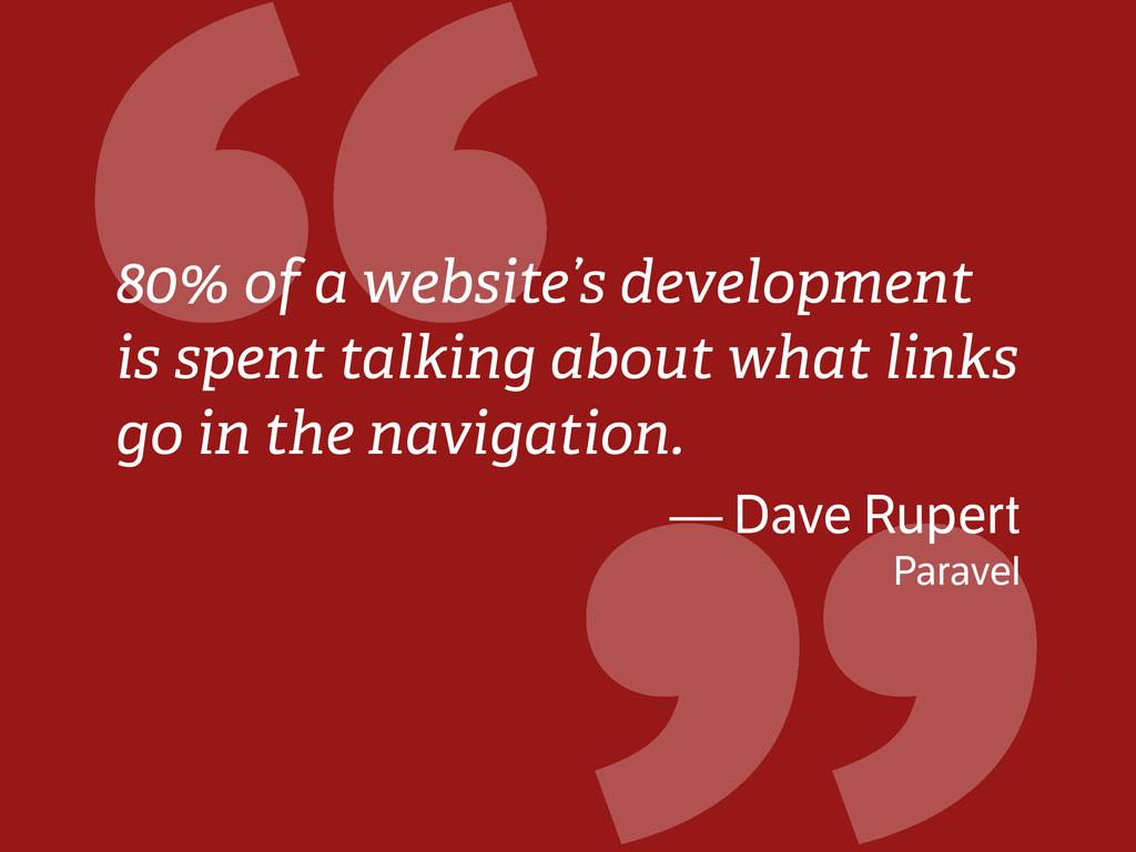 """ 80% of a website's development is spent talki..."