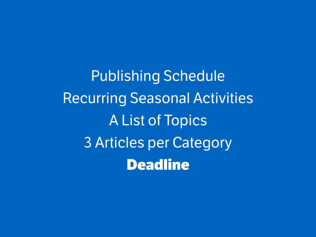 Publishing Schedule Recurring Seasonal Activiti...