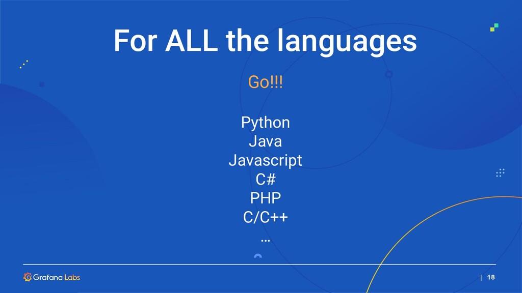   18 Go!!! Python Java Javascript C# PHP C/C++ ...