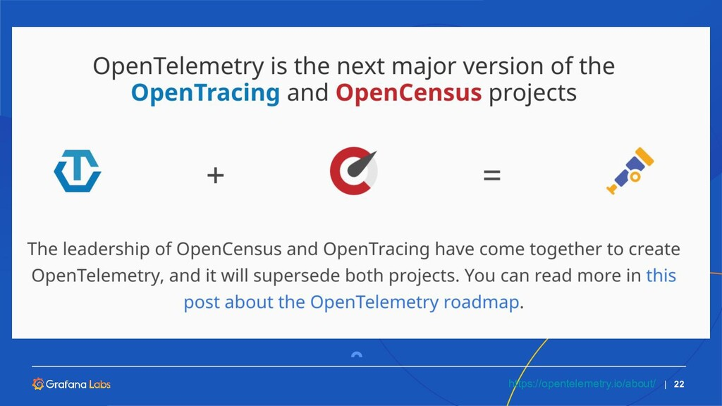   22 https://opentelemetry.io/about/