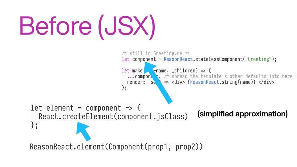 Before (JSX) ReasonReact.element(Component(prop...