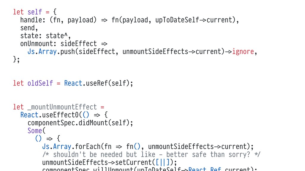 let self = { handle: (fn, payload) %=> fn(paylo...