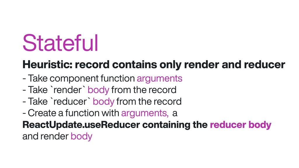 Stateful Heuristic: record contains only render...