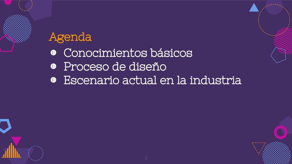 Agenda ◍ Conocimientos básicos ◍ Proceso de dis...