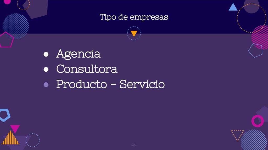 Tipo de empresas ● Agencia ● Consultora ● Produ...