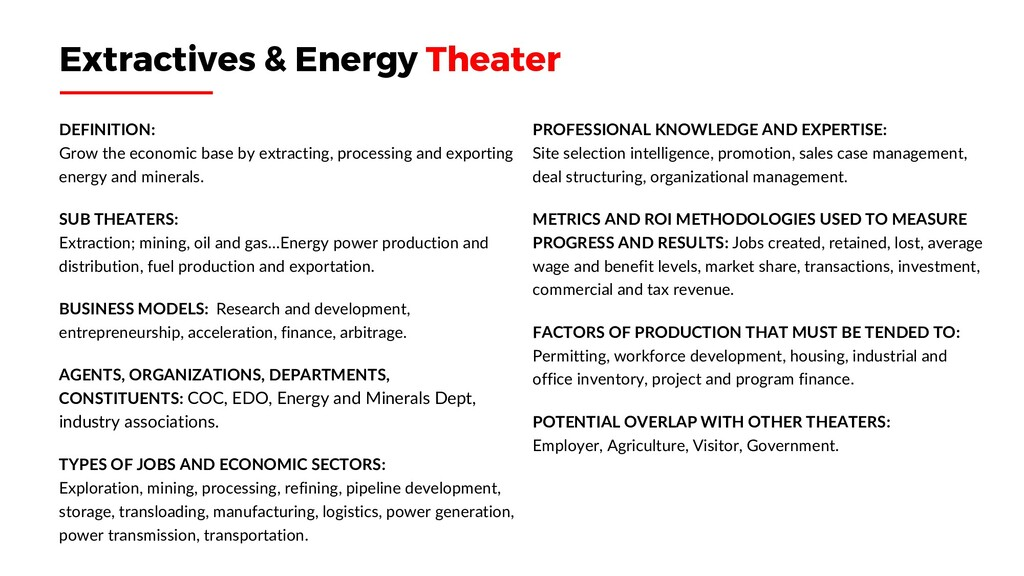 Extractives & Energy Theater DEFINITION: Grow t...