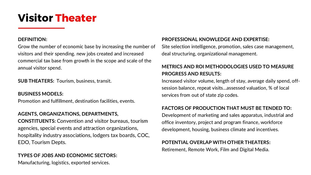Visitor Theater DEFINITION: Grow the number of ...