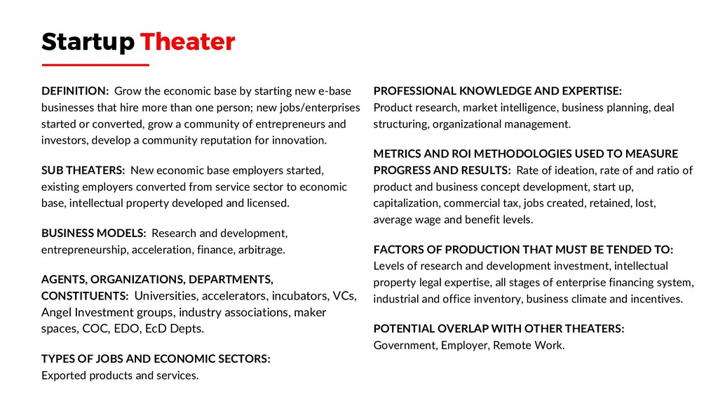 Startup Theater DEFINITION: Grow the economic b...
