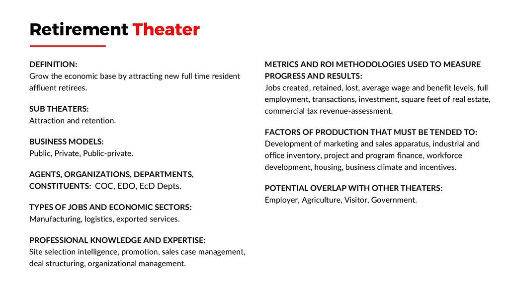 Retirement Theater DEFINITION: Grow the economi...