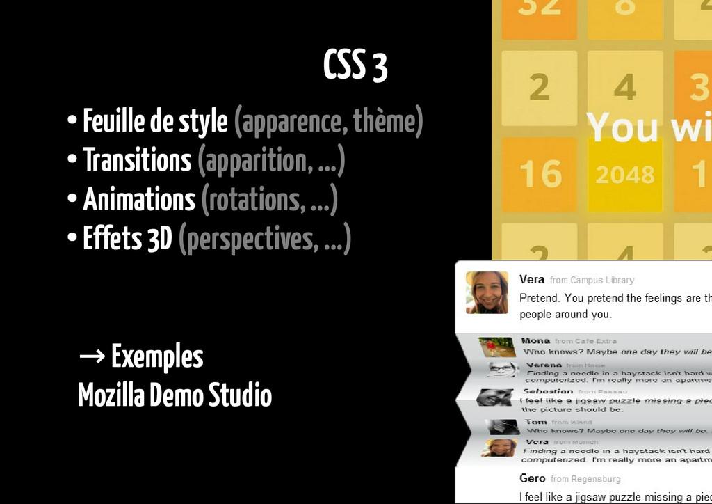 CSS 3 ● Feuille de style (apparence, thème) ● T...