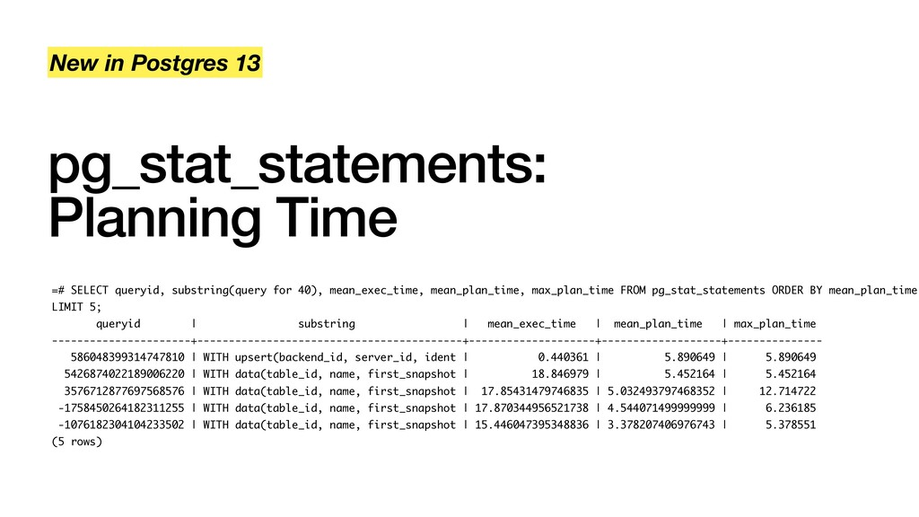pg_stat_statements: Planning Time New in Postgr...