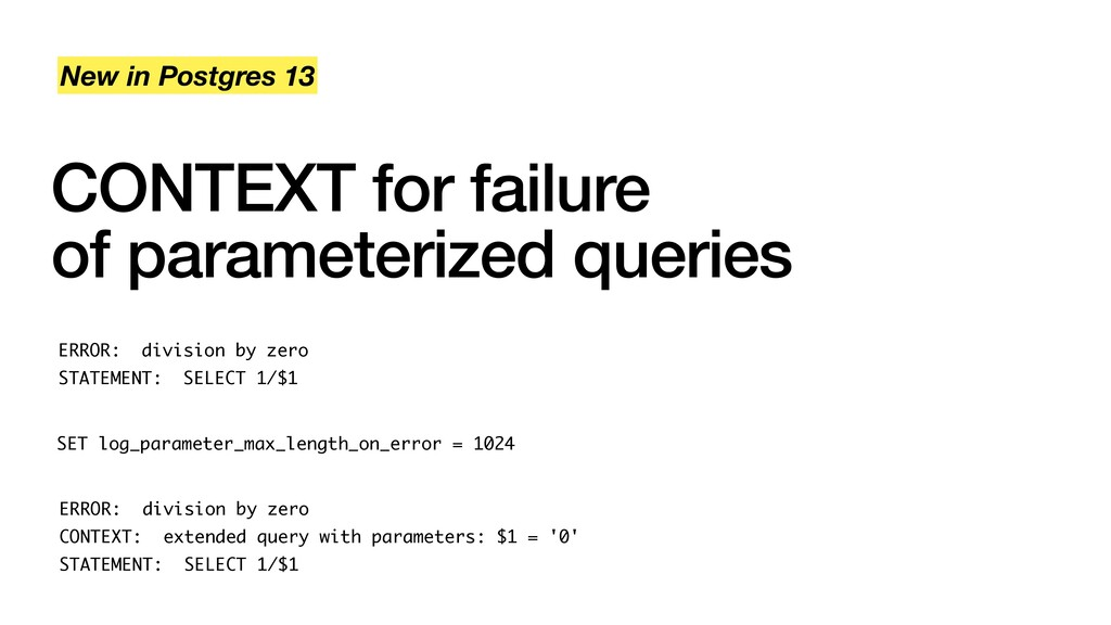 CONTEXT for failure of parameterized queries Ne...
