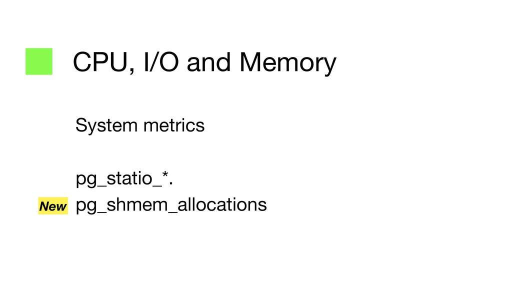 CPU, I/O and Memory System metrics  pg_statio_*...