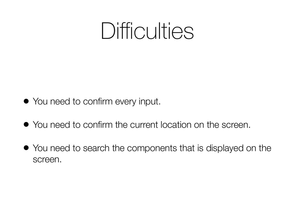 Difficulties • You need to confirm every input. • ...