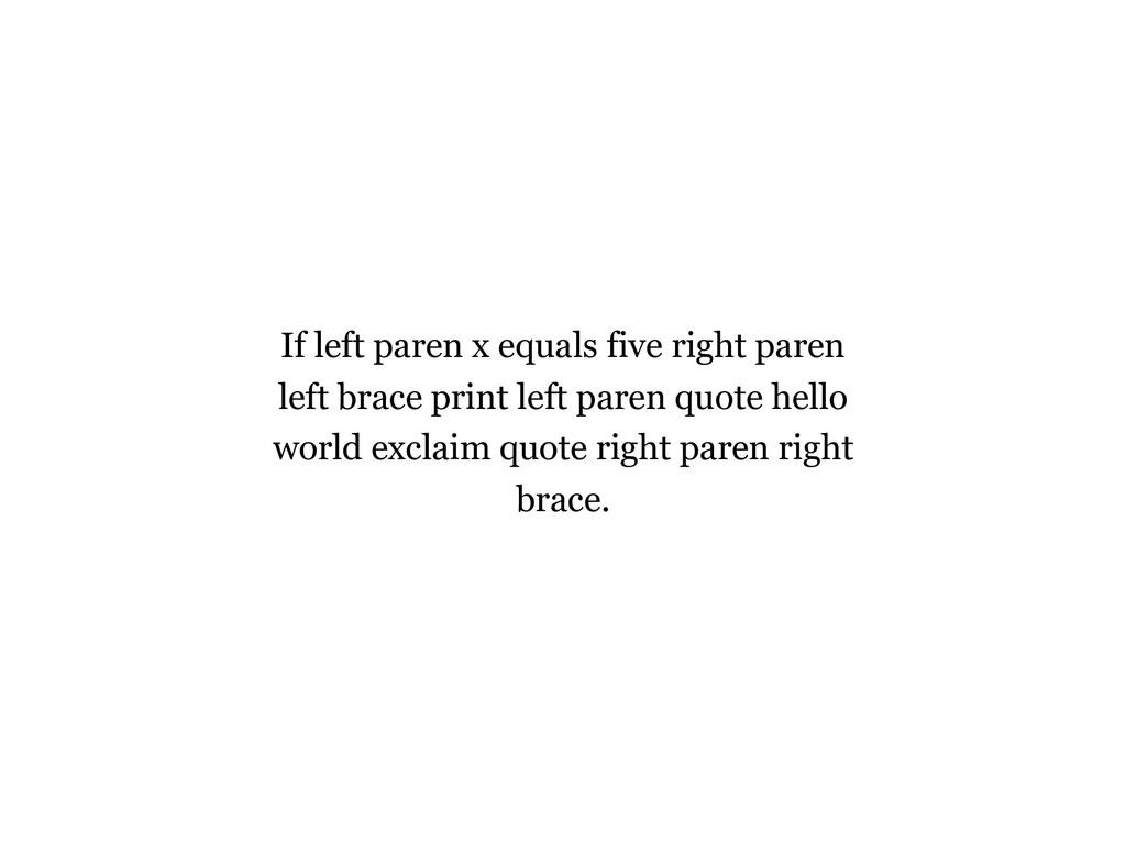 If left paren x equals five right paren left br...