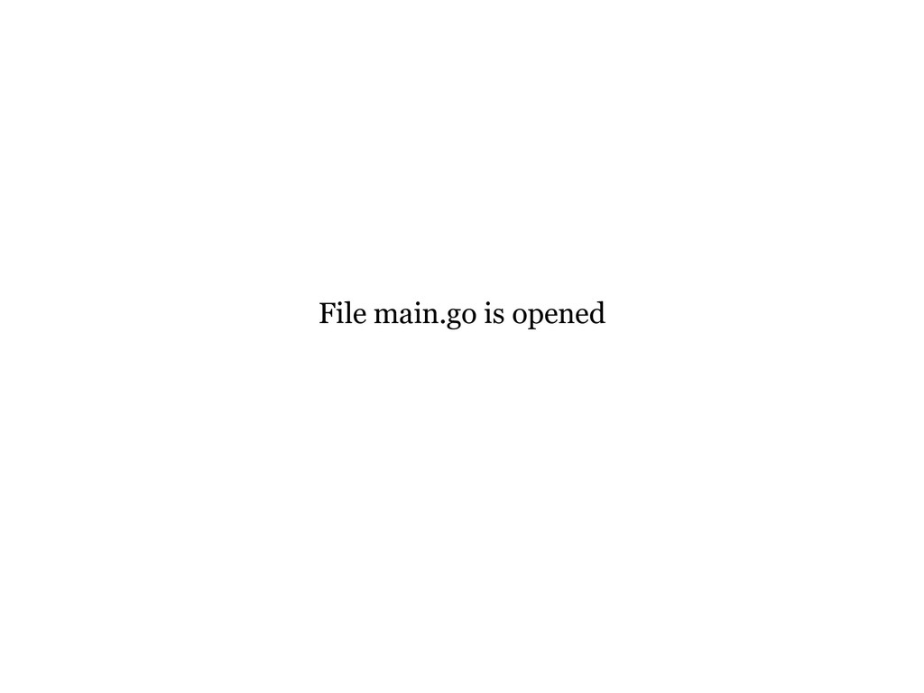 File main.go is opened