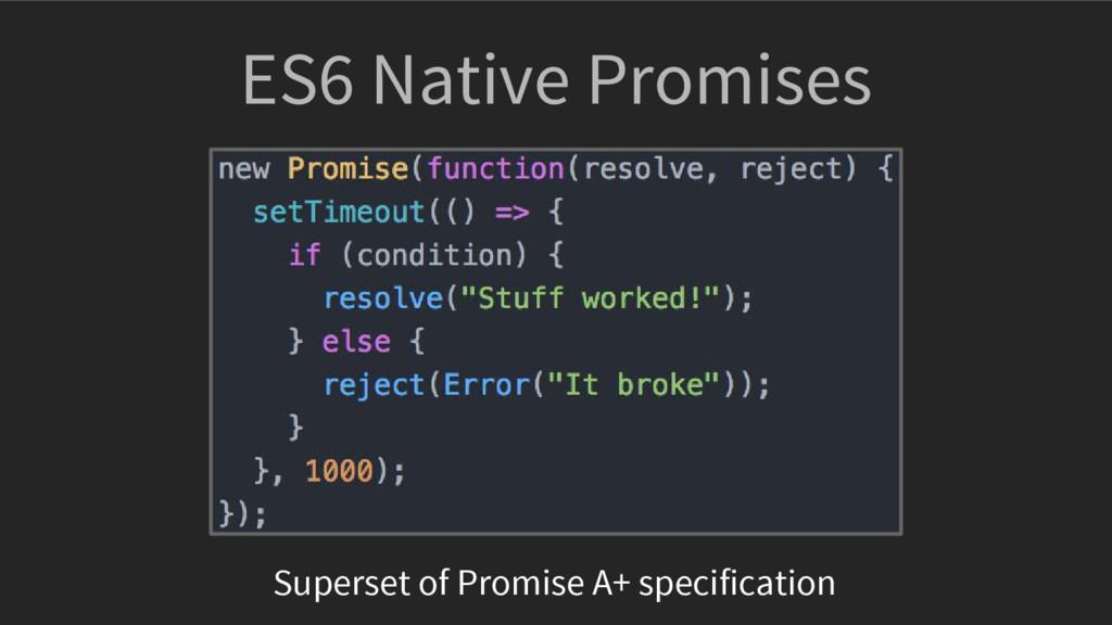 ES6 Native Promises Superset of Promise A+ spec...