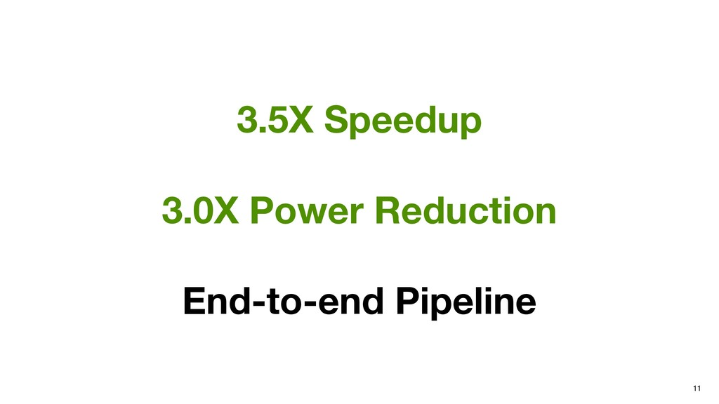 11 3.5X Speedup 3.0X Power Reduction End-to-end...