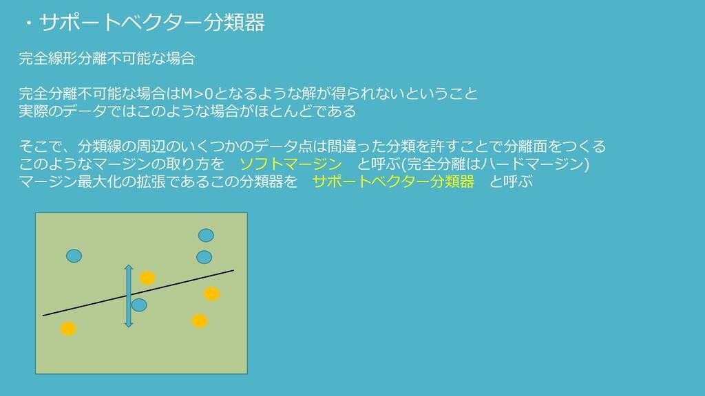 ・サポートベクター分類器 完全線形分離不可能な場合 完全分離不可能な場合はM>0となるような解...