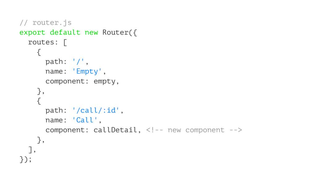 // router.js export default new Router({ routes...