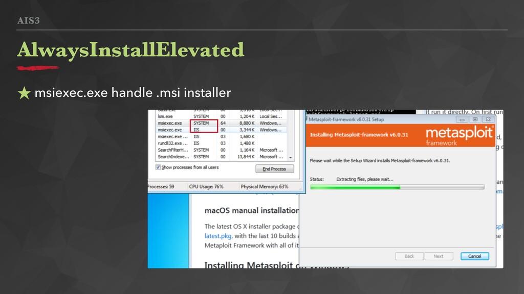 AIS3 ★ msiexec.exe handle .msi installer Always...