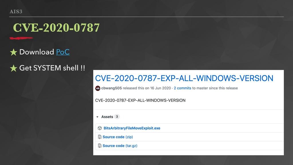 AIS3 ★ Download PoC ★ Get SYSTEM shell !! CVE-2...