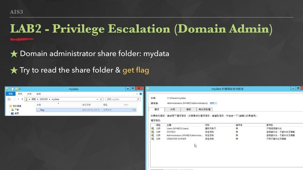 AIS3 ★ Domain administrator share folder: mydat...