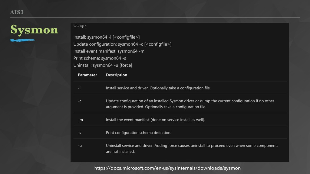 AIS3 Sysmon https://docs.microsoft.com/en-us/sy...