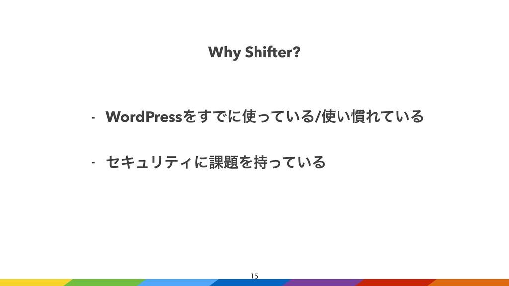 Why Shifter? - WordPressΛ͢Ͱʹ͍ͬͯΔ/͍׳Ε͍ͯΔ   ...