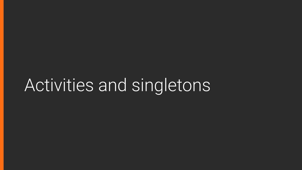 Activities and singletons